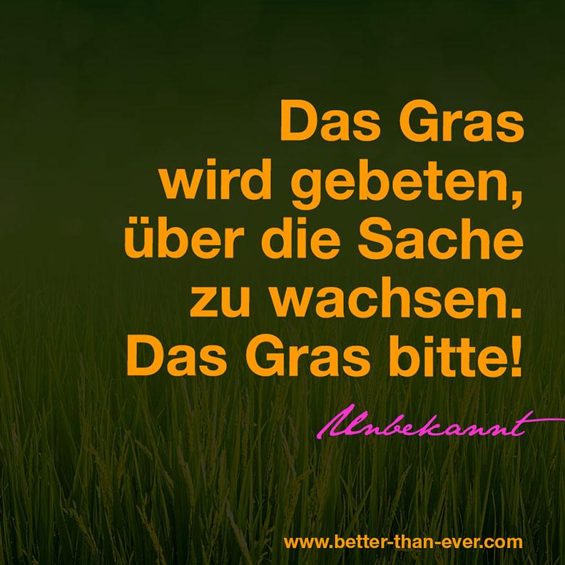 Das Gras wird gebeten …